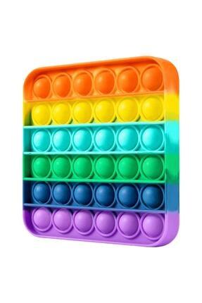 Toys Pop It Push Bubble Fidget Özel Pop Duyusal Zihinsel Oyuncak  ( Rainbow Renk, Kare ) 0