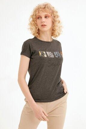 Fullamoda Kadın Antrasit Baskılı Tshirt 0