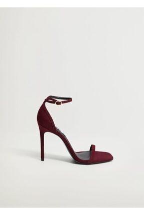 Mango Kadın Bordo Bilekten Bağlamalı Sandalet 1