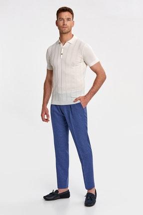Hemington Erkek Ipek Karışımlı Çizgili Kırık Beyaz Triko Polo 1