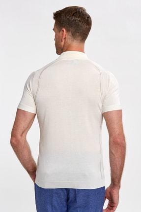 Hemington Erkek Ipek Karışımlı Çizgili Kırık Beyaz Triko Polo 2
