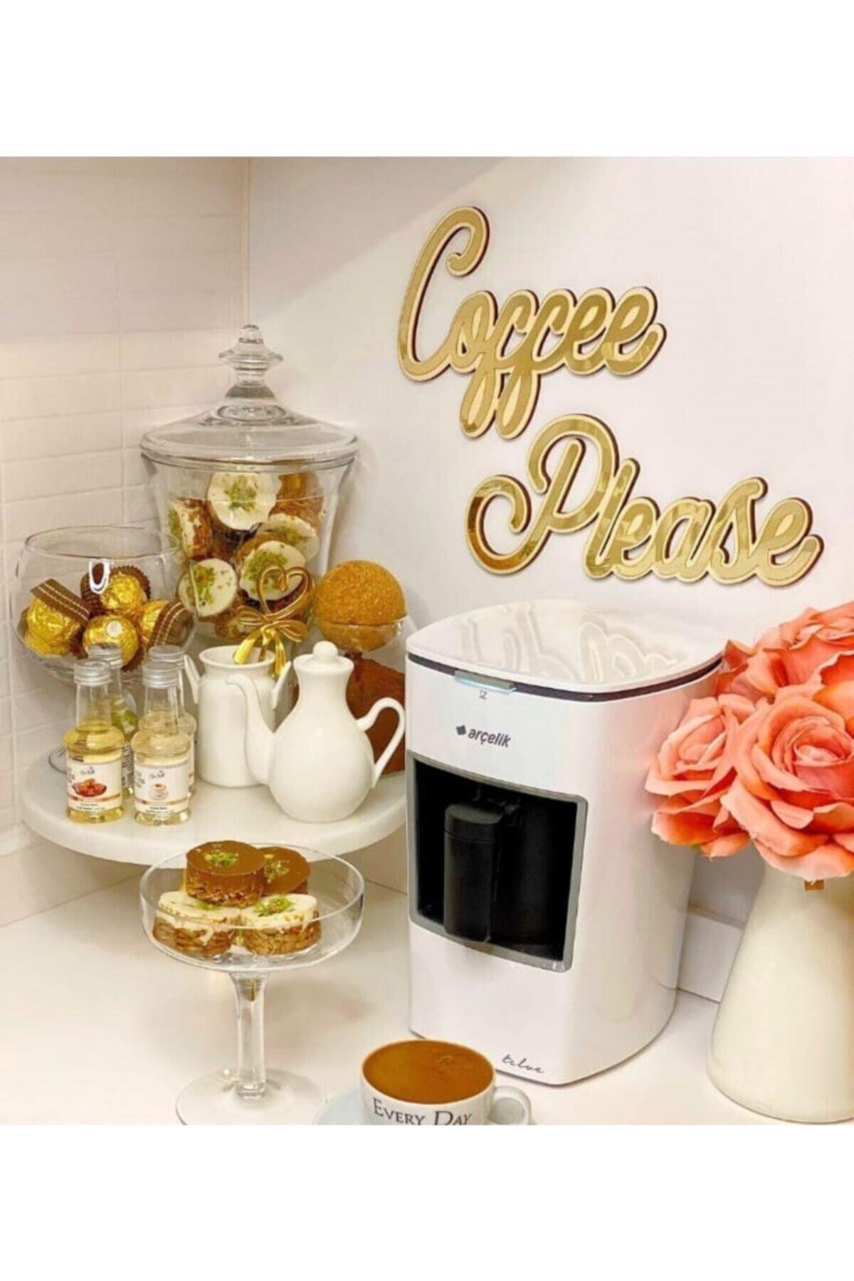 Coffee Please Aynalı Gold Pleksi Duvar Yazısı Mutfak Dekoru