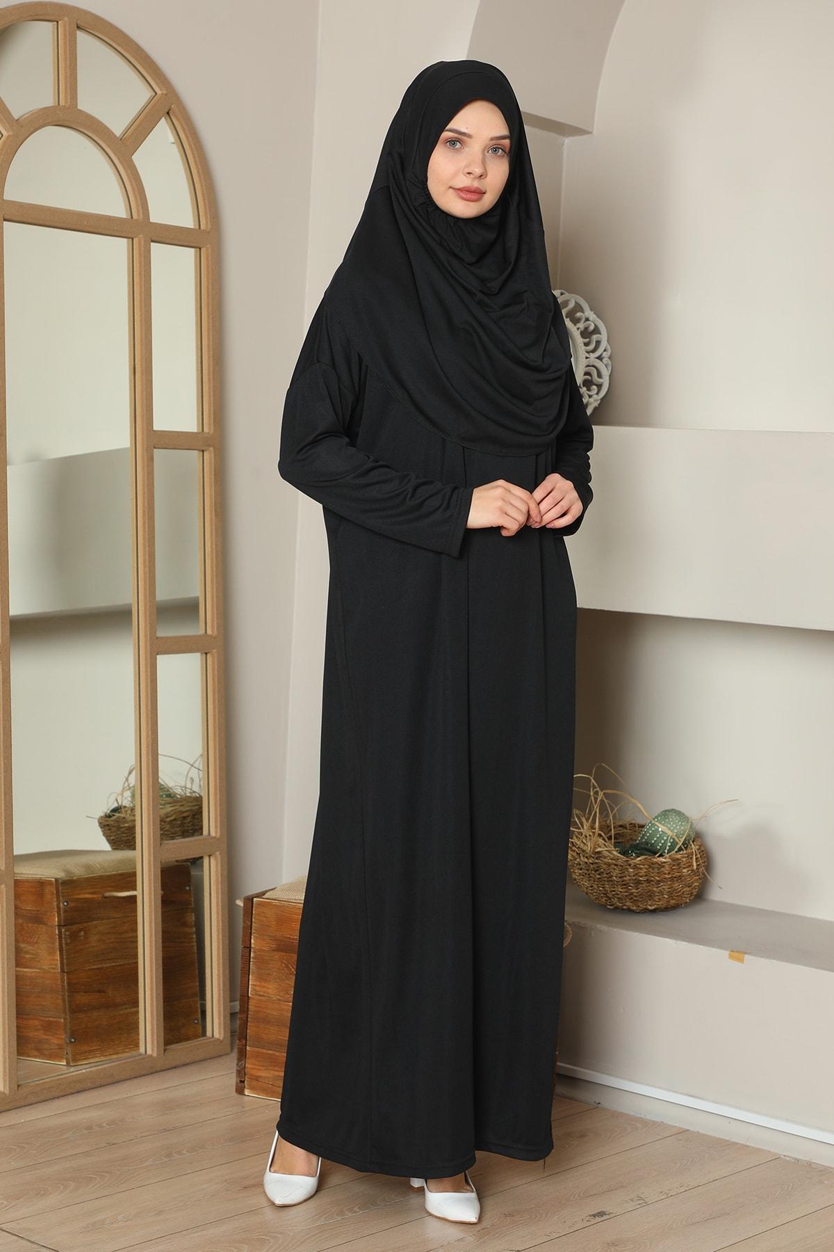 Kolay Giyilebilen Tek Parça Namaz Elbisesi Siyah