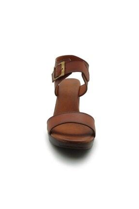 ModanınNabzı Kadın Taba Hakiki Deri Platform Topuklu Ayakkabı 211020tb 1