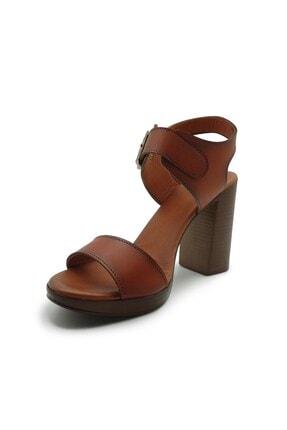 ModanınNabzı Kadın Taba Hakiki Deri Platform Topuklu Ayakkabı 211020tb 2