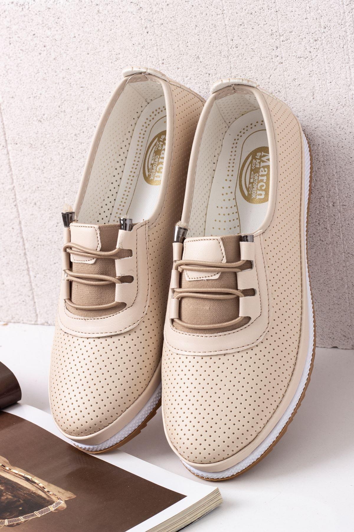 Kadın Rahat Ortopedik Babet Ayakkabı-krem
