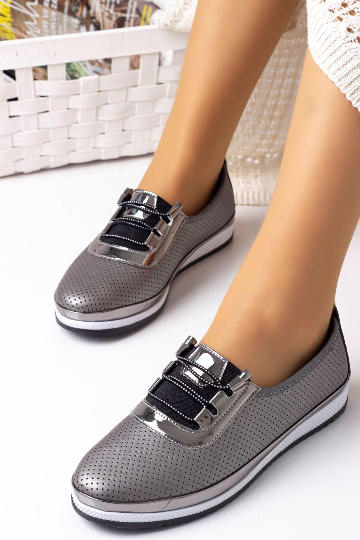 Kadın Ortopedik Rahat Babet Spor Ayakkabı-gri
