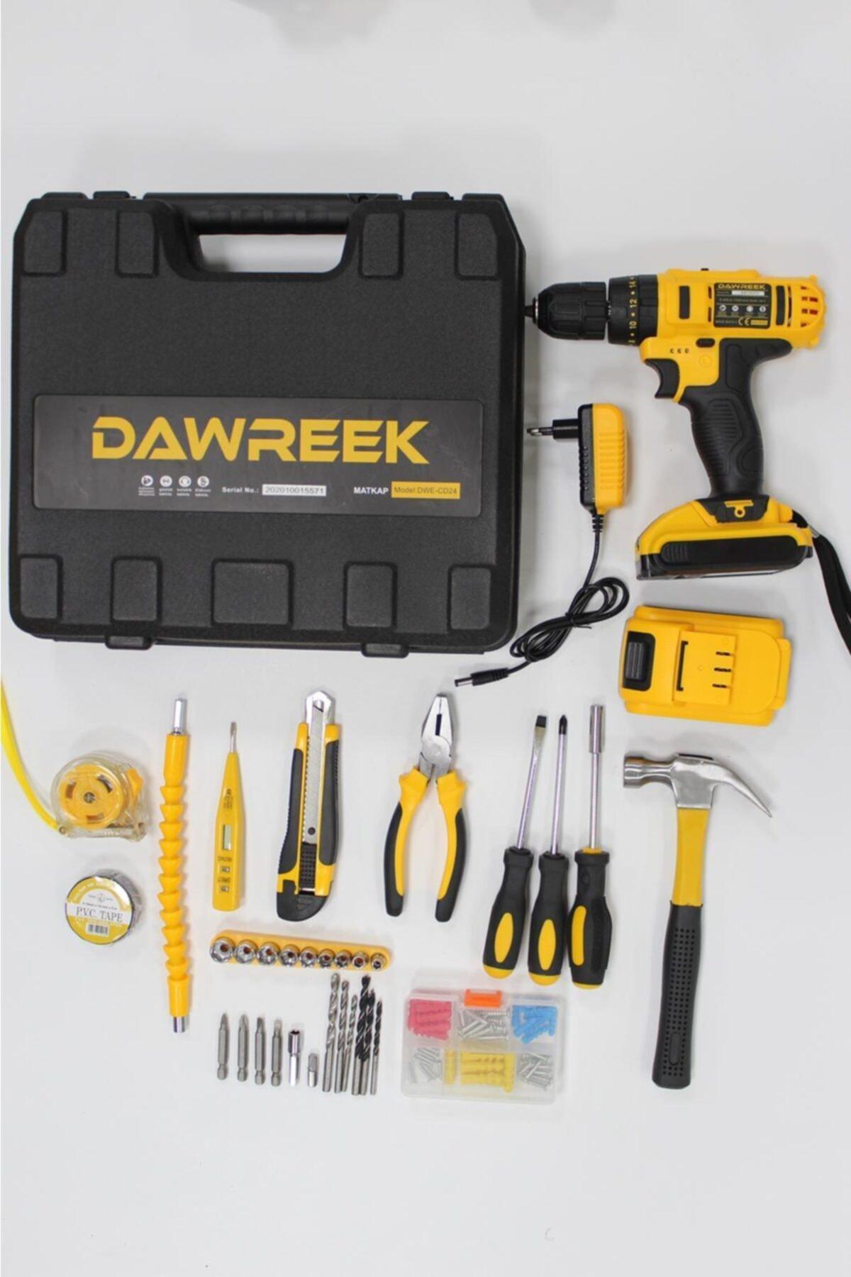 Dawreek 24 V Full Setli 30 Parça Çift Bataryalı Metal Şanzumanlı Darbeli Şarjlı Matkap