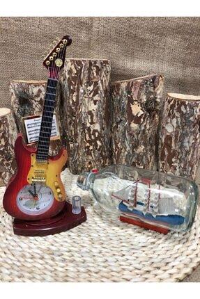 Gitar Şeklinde Saat, Şişe Içinde Gemi Maketi Ev Dekorasyon Ofis Aksesuar Hediyelik Eşya 72078