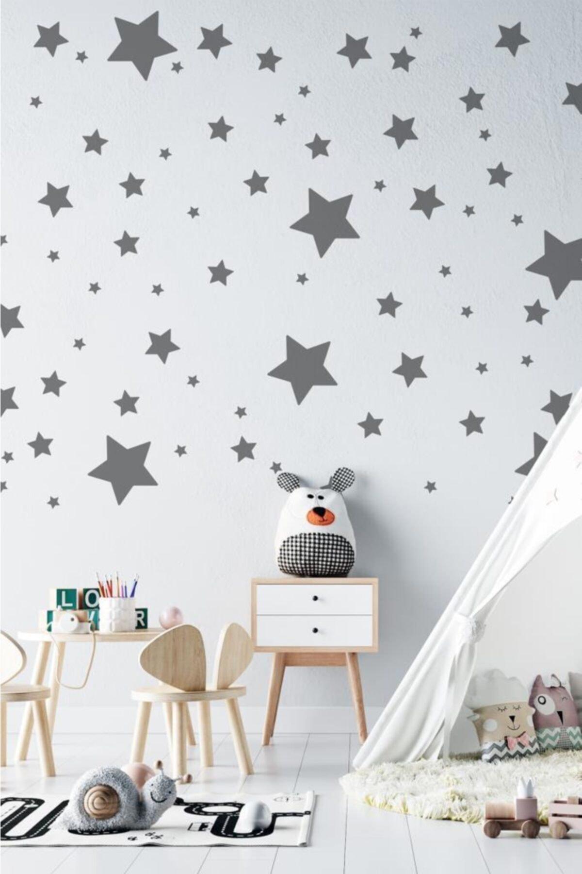 Gri Yıldız Yağmuru Çocuk Ve Bebek Odası Sticker 150 Adet