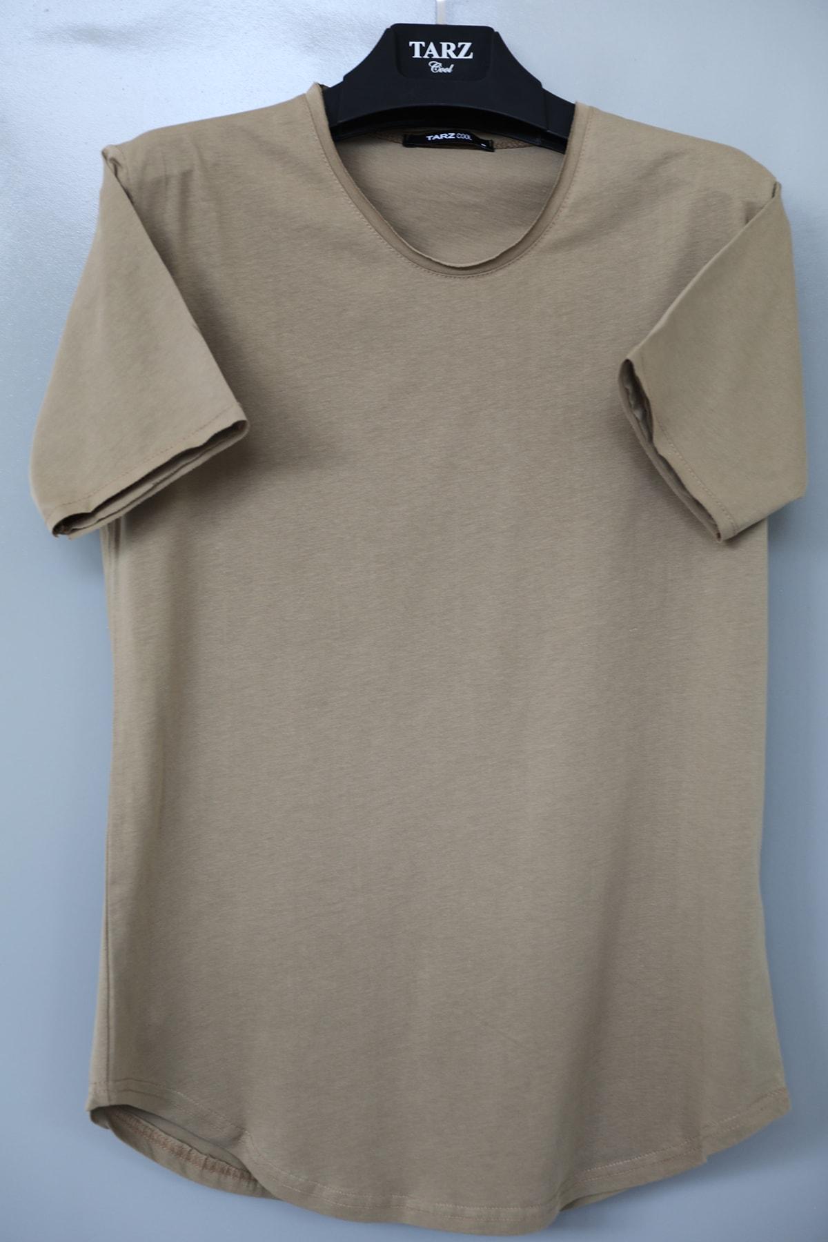 Erkek Sütlü Kahve Pis Yaka Salaş T-shirt