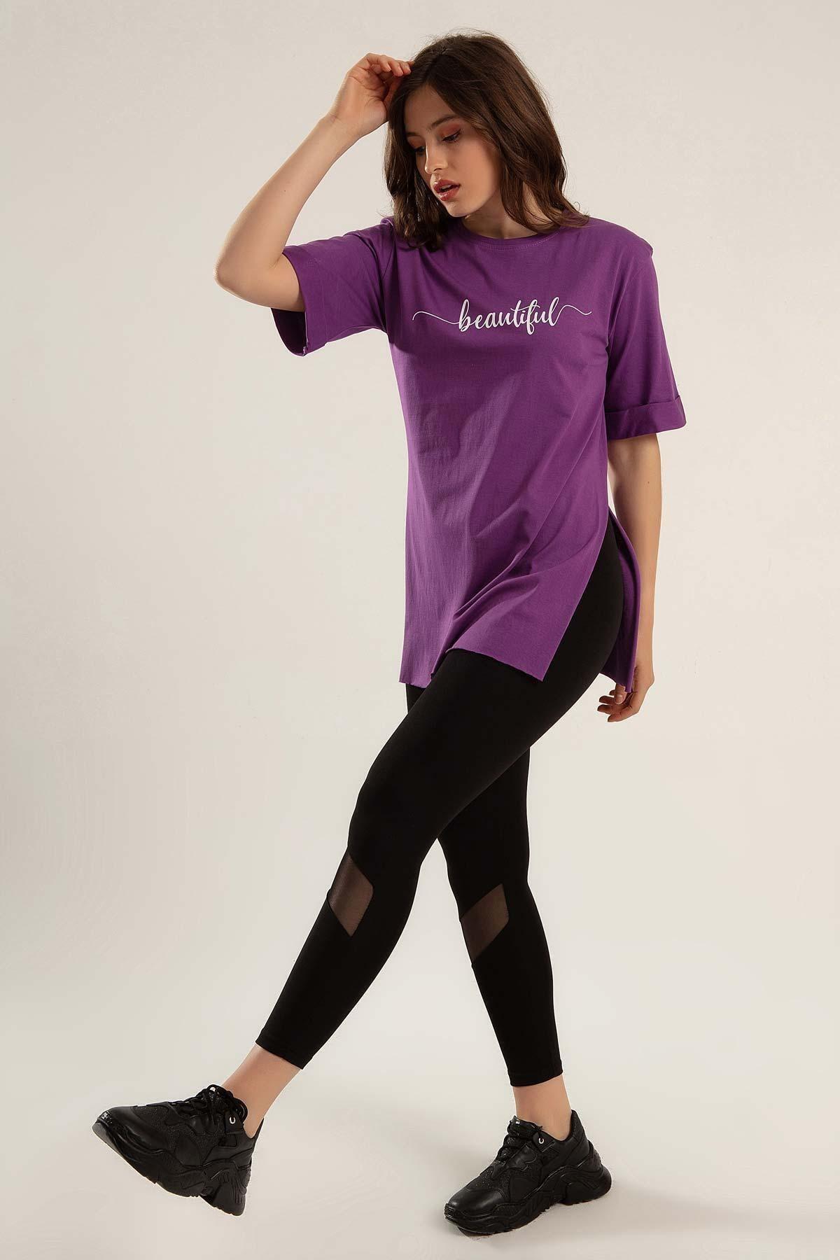 Kadın Baskılı Yırtmaçlı Tişört Y20s110-0361