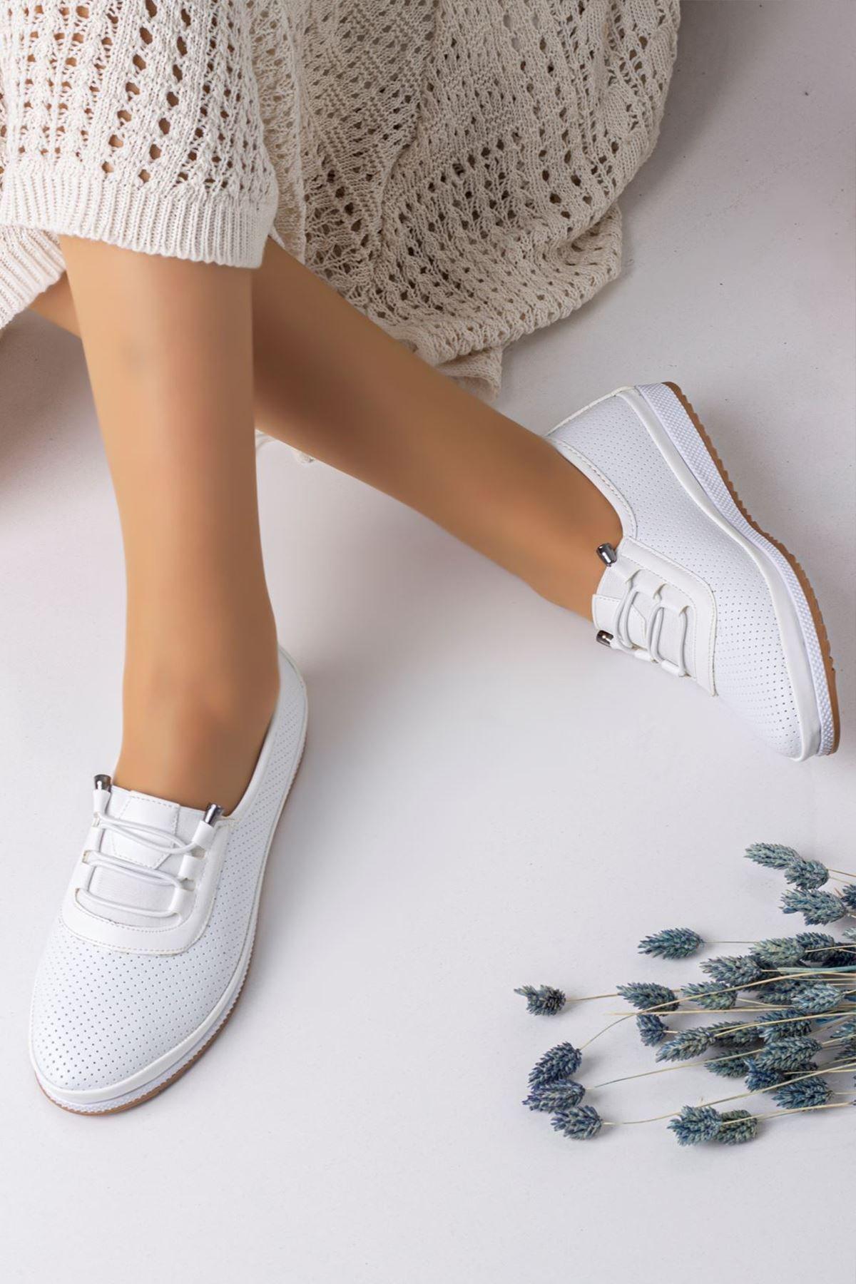Kadın Ortopedik Rahat Babet Spor Ayakkabı-beyaz