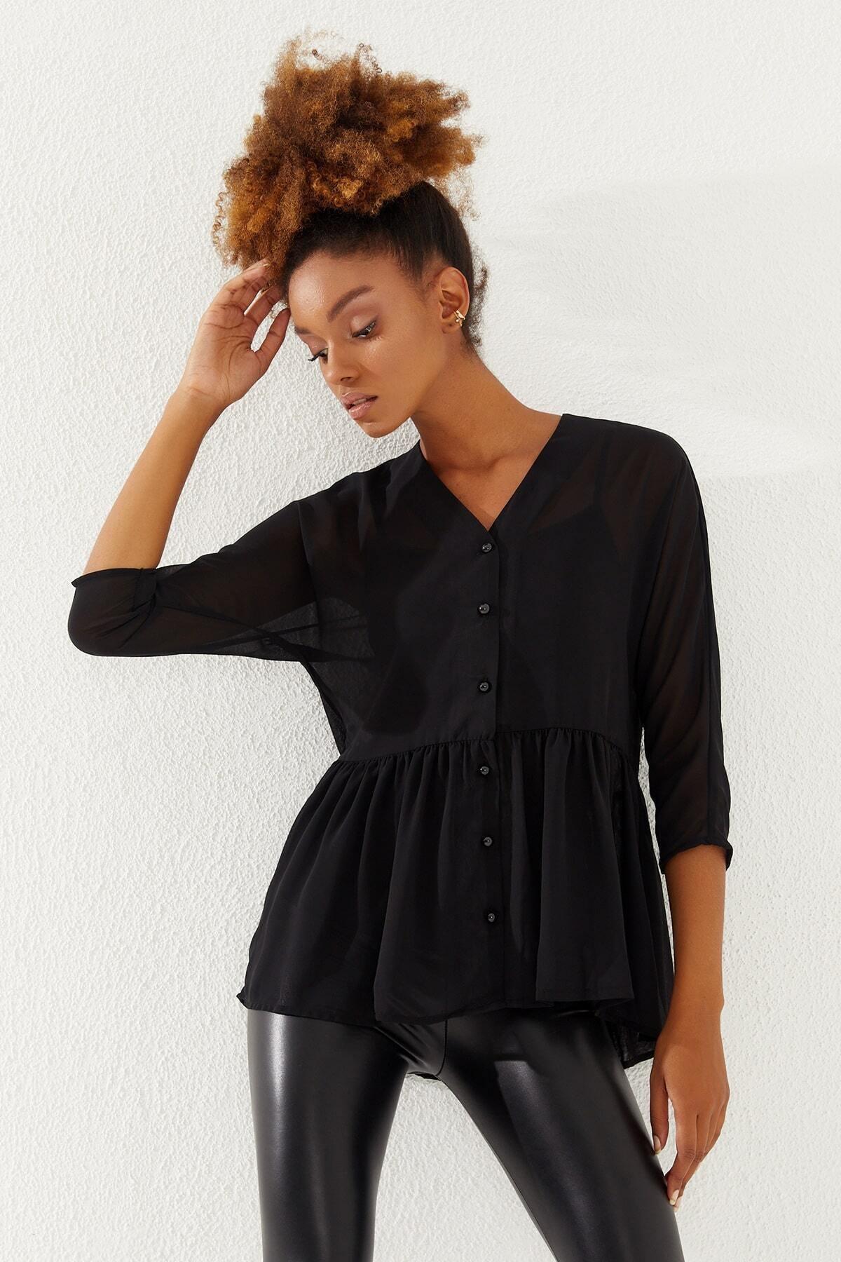 Kadın Siyah V Yaka Düğmeli Şifon Bluz  20237001D3D