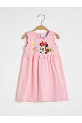 Picture of Bisiklet Yaka Minnie Mouse Baskılı Kız Bebek Elbise