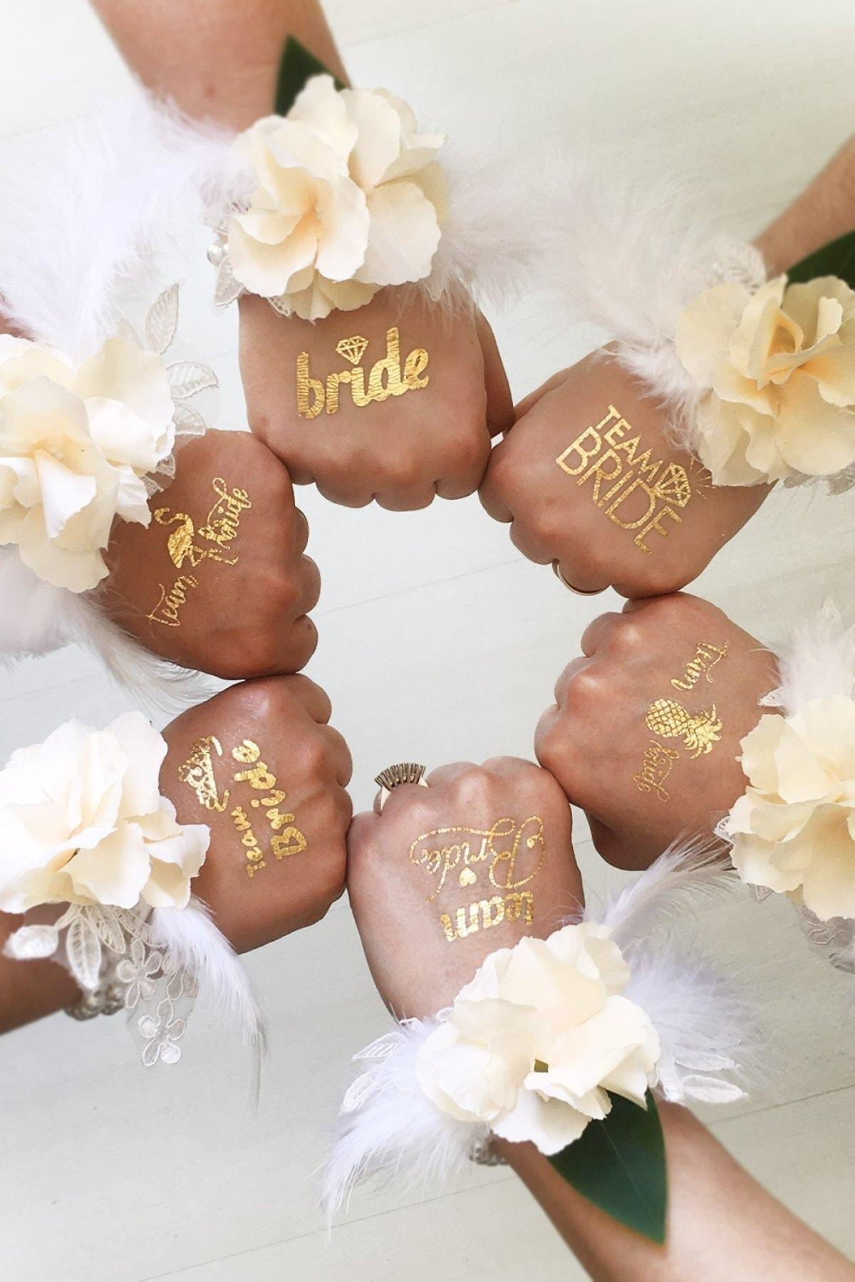 Bride To Be 1 Bride 10 Team Bride Gold Renkli Altın Sarısı Geçici Dövme Bekarlığa Veda Partisi