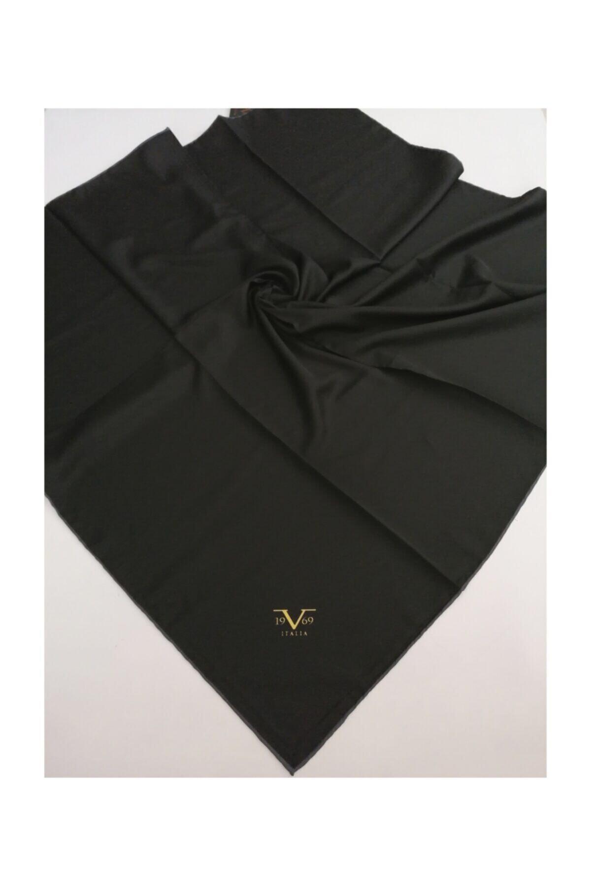 Kadın Siyah Twill Eşarp Black Seri 90x90 cm Eşarp Askısı İle Birlikte 10347-v43