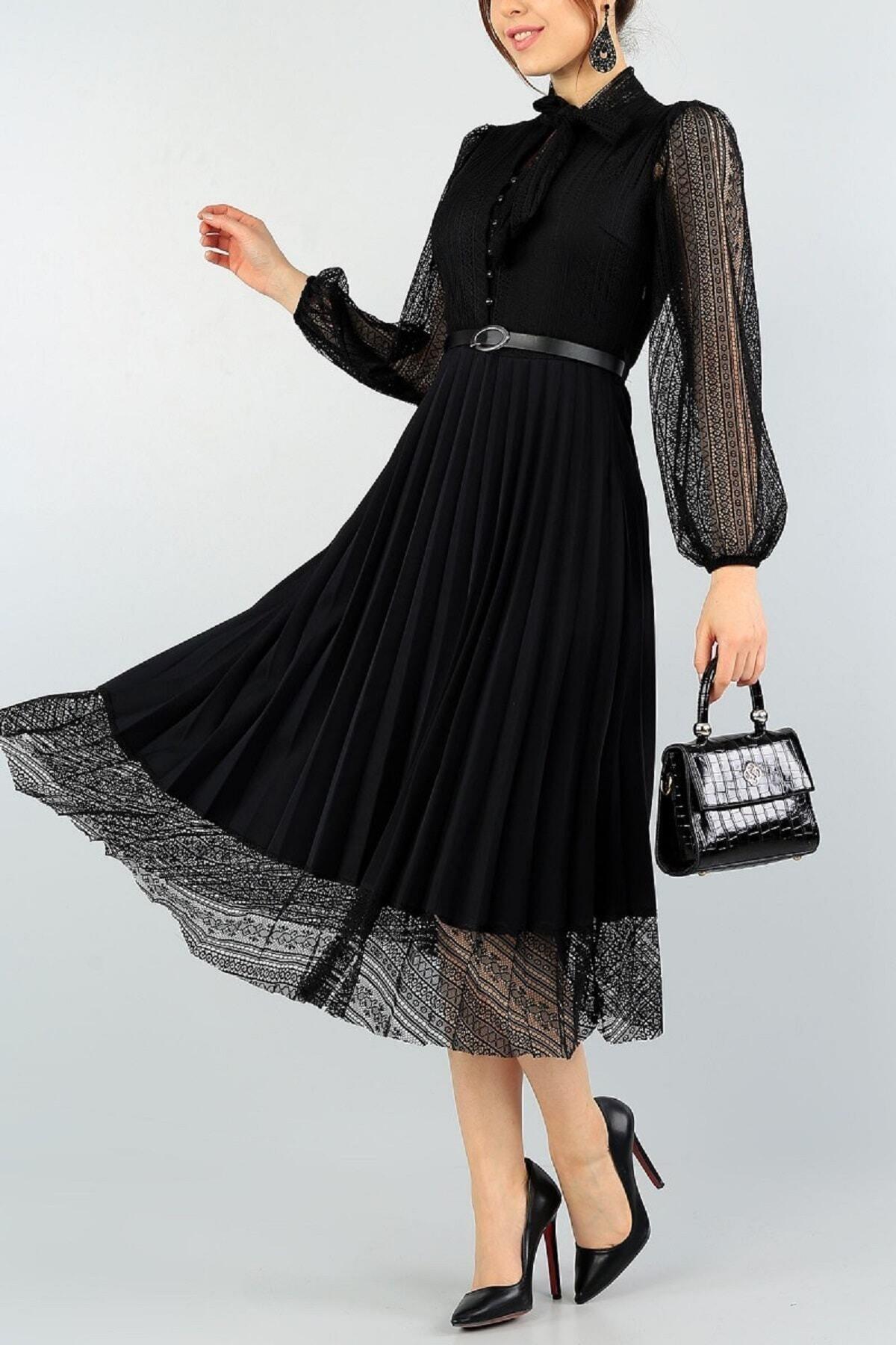 Piliseli Dantel Detaylı Kemerli Tasarım Uzun Kollu Siyah Elbise 57834