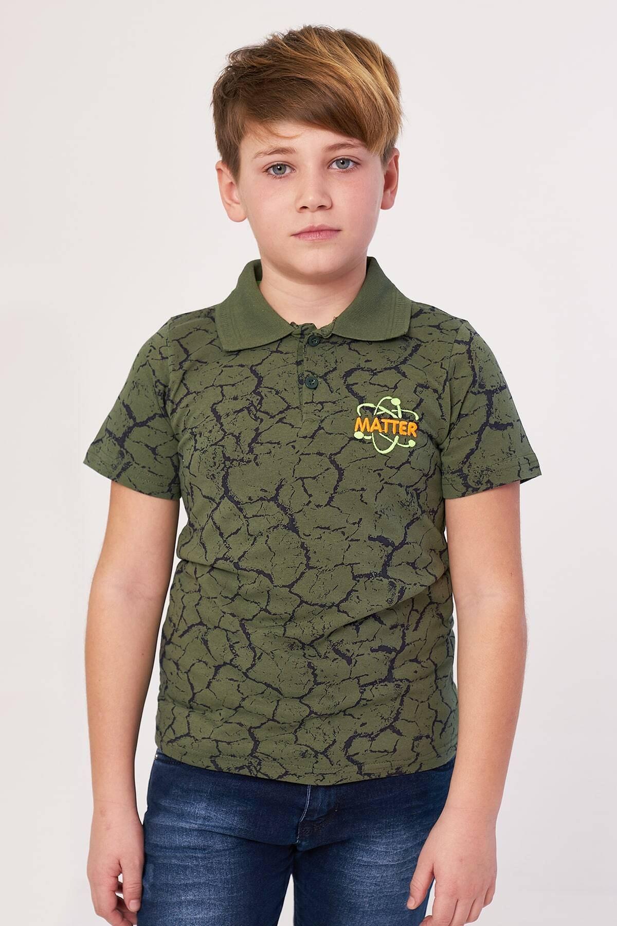 Erkek Çocuk Haki Polo Yaka T-shirt Matter Nakışlı 3-12 Yaş