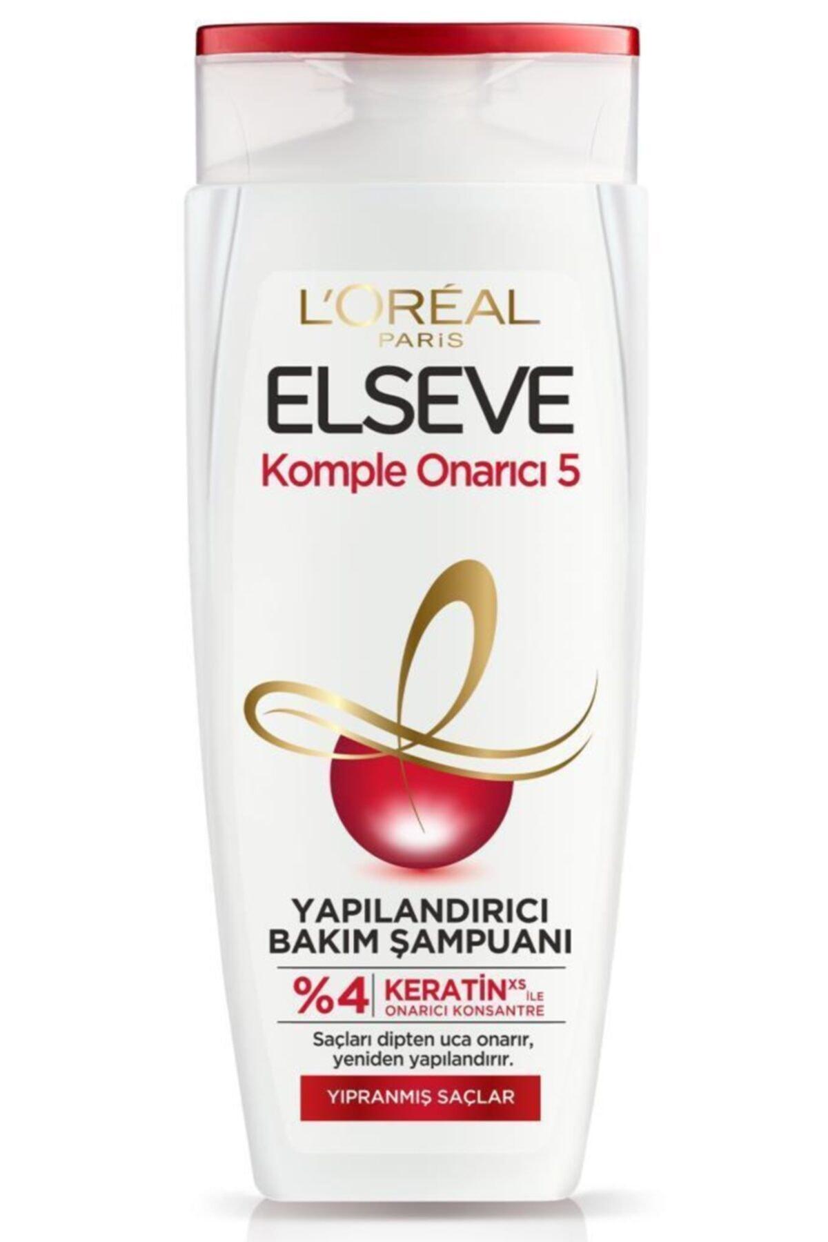 Elseve Komple Onarıcı 5 Yapılandırıcı Bakım Şampuan 450ml 3'lü Onarıcı Saç Bakım Seti