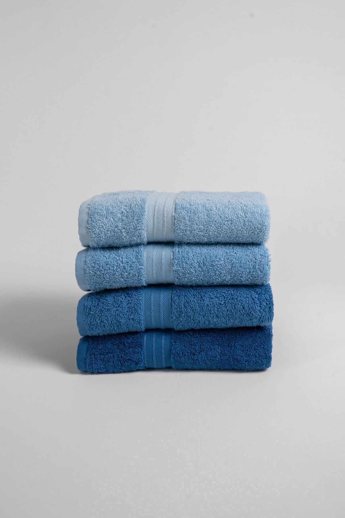 Rainbow %100 Pamuk Ekstra Yumuşak Mavi Tonlar 4'lü El/Yüz Havlu Seti(4*50x80)
