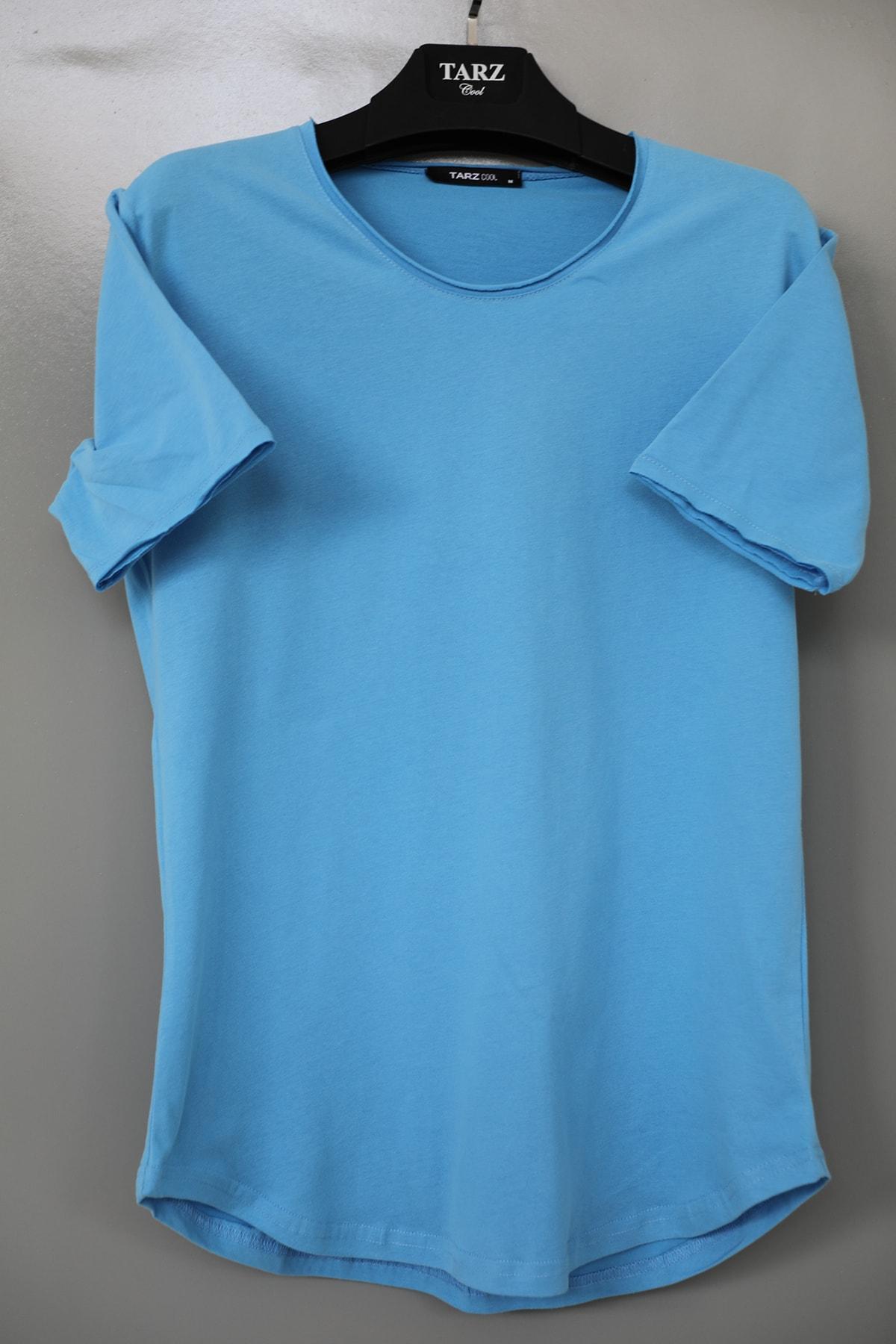 Erkek Deniz Mavisi Pis Yaka Salaş T-shirt