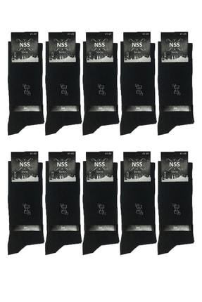 تصویر از 10 Çift Erkek Pamuklu Ekonomik Çorap Siyah