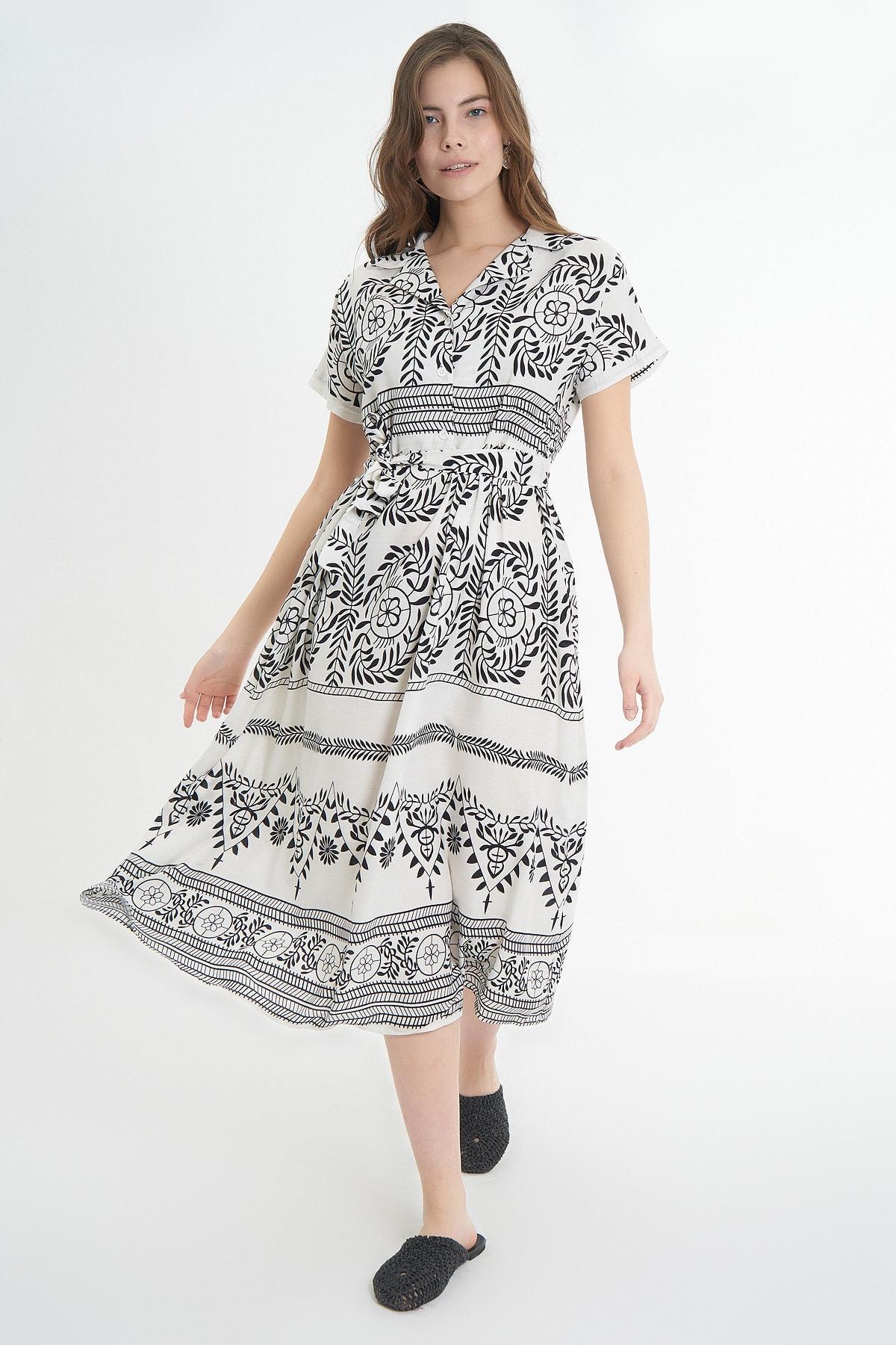 Kadın Kuşaklı Kısa Kollu Elbise P21s110-6022