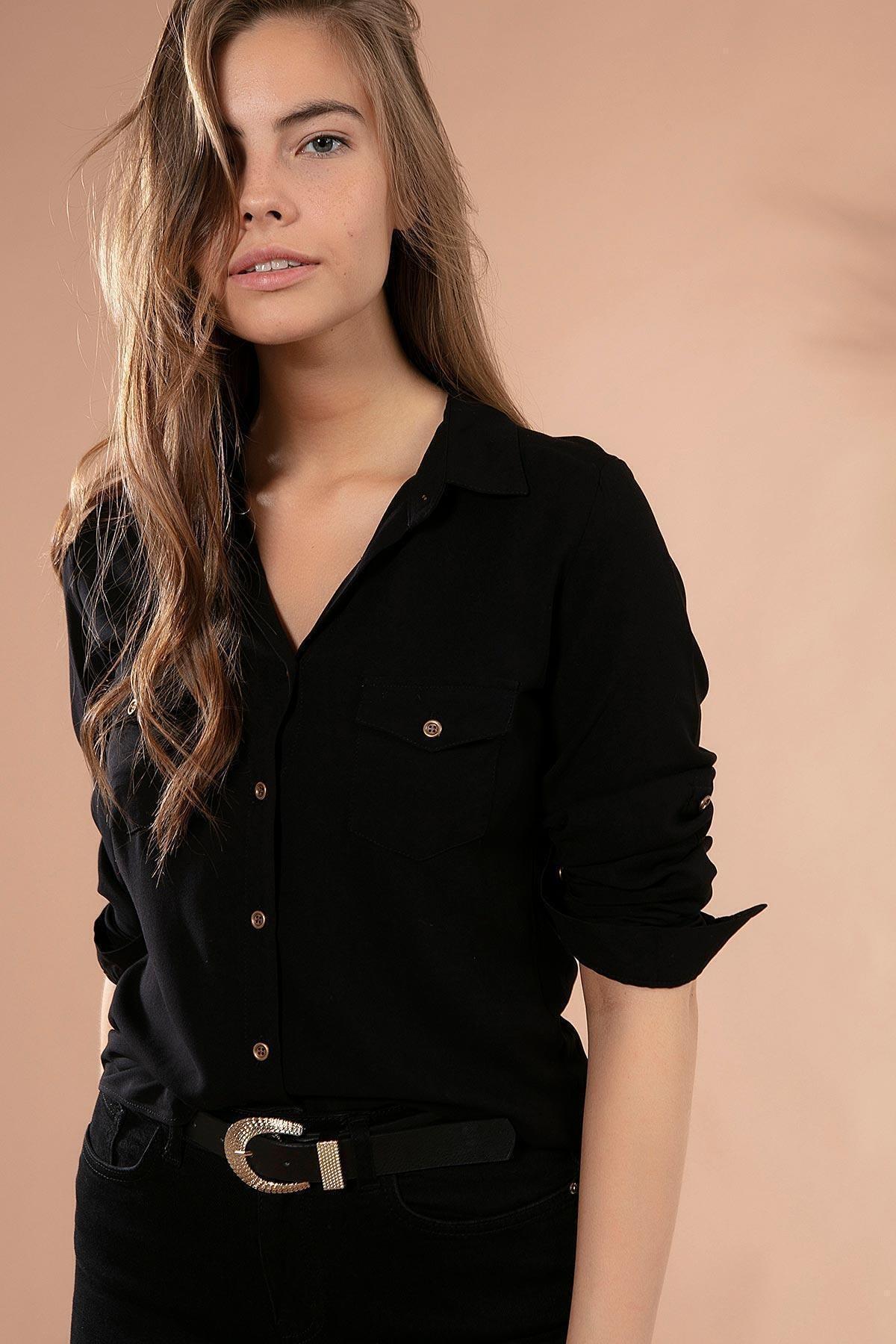 Kadın Cep Detaylı Basic Uzun Kollu Gömlek Y19w110-3428