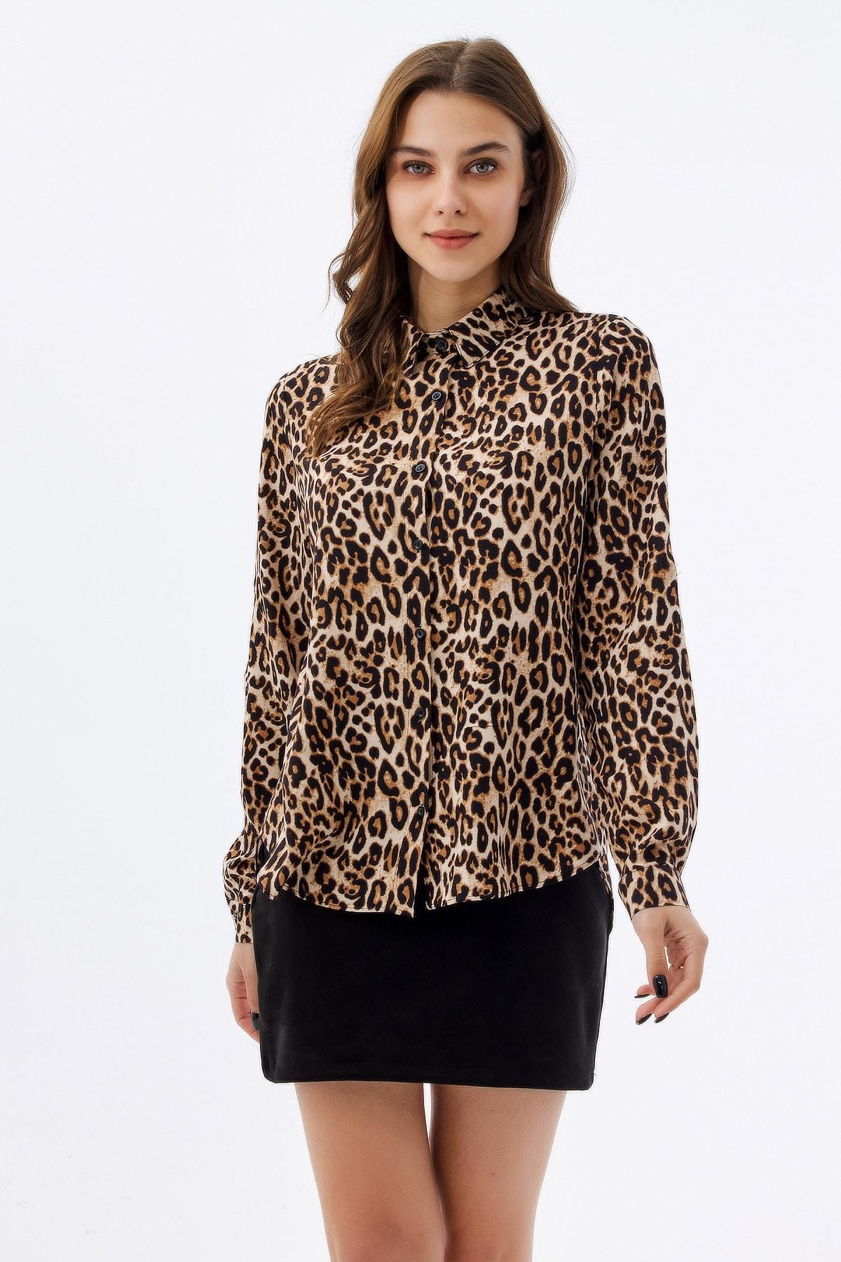 Kadın Leopar Desenli Uzun Kollu Gömlek P21s110-8183