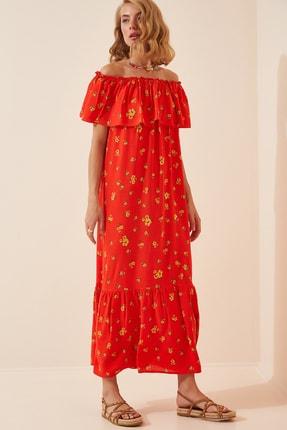 تصویر از Kadın Açık Kırmızı Carmen Yaka Yazlık Uzun Viskon Elbise  FN02807