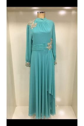 Kadın Su Yeşili Sifon Dantelli Abiye Elbise 8641000004158