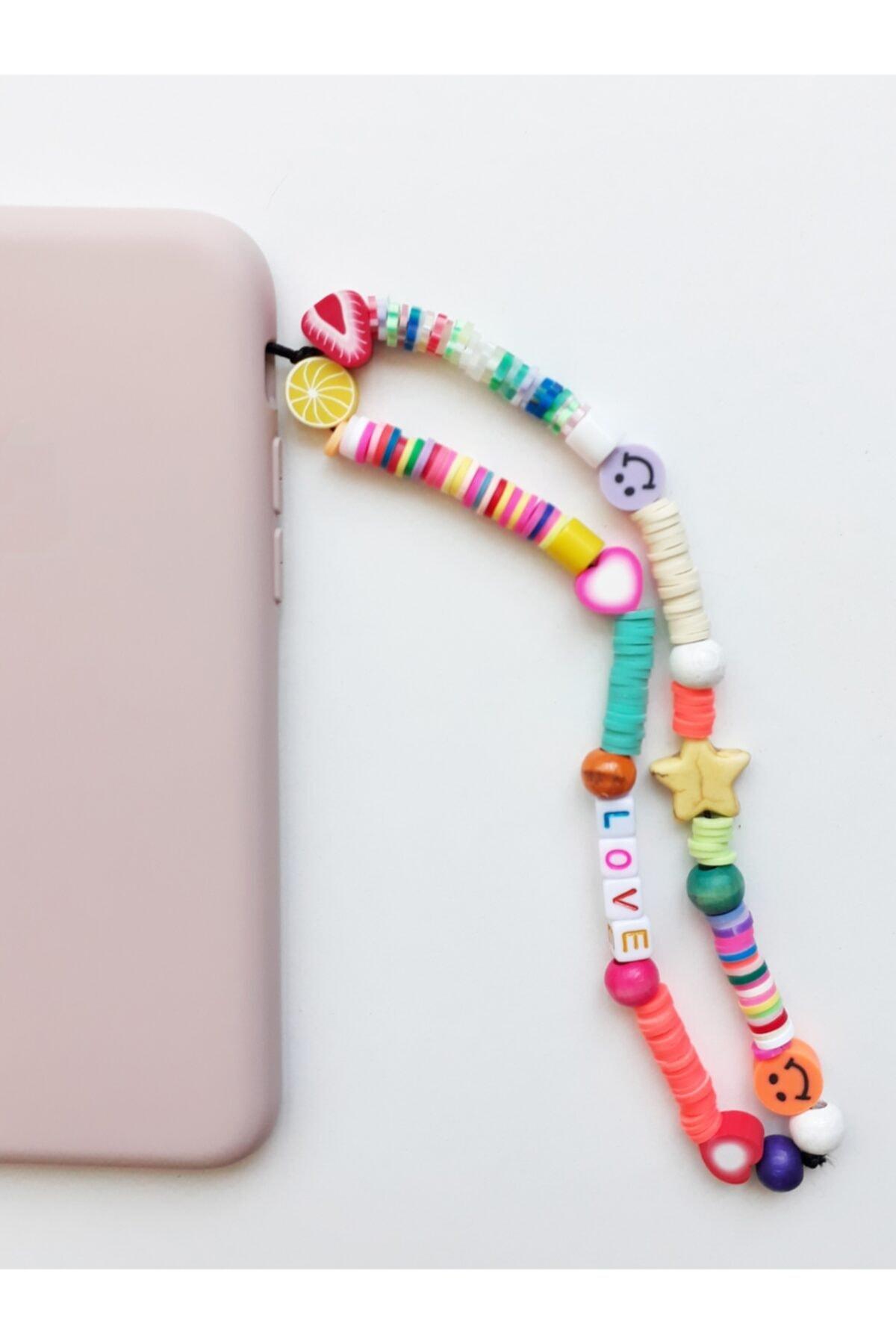 Renkli Love Desenli Telefon Charmı, Telefon Askısı Fimo