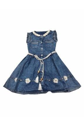 Şirin Kız Kot Elbise Yakası Çiçekli Elbise ŞİRİN KIZ KOT YAKASI ÇİÇEKLİ ELBİSE