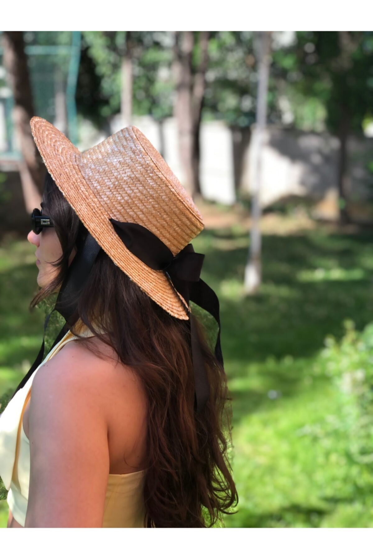 Bağlamalı Siyah Kurdale Hasır Şapka