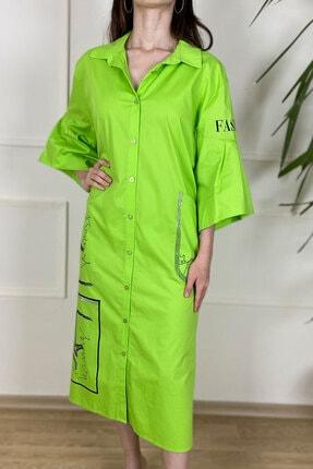 Kadın Fıstık Yeşili Gömlek Elbise 17146