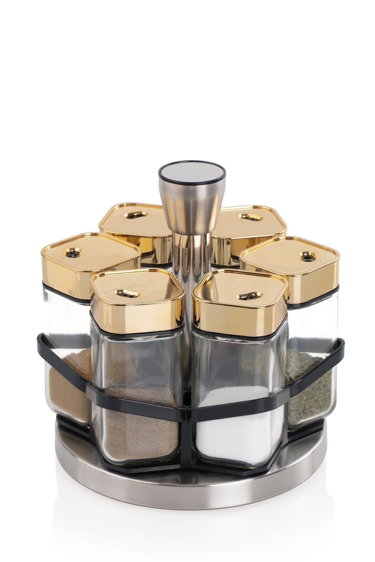 Alya 6'lı Yuvarlak Döner Metal Standlı Cam Baharat Takımı Gold 011117
