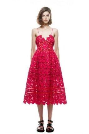 Kırmızı Dantel Midi Tasarım Elbise Dantel İthal Tasarım Elbise