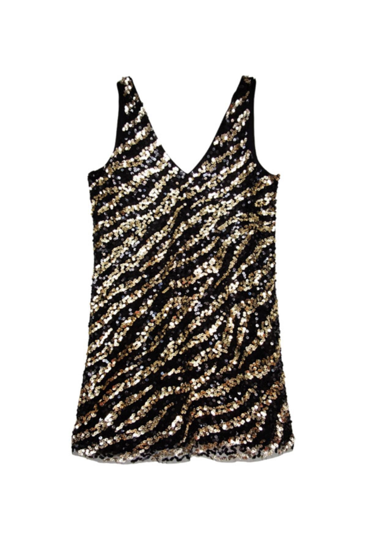 Siyah Zebra Desenli Payetli Elbise