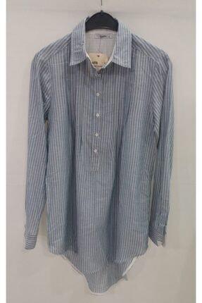 Kadın Mavi Keten Çizgili Düğmeli Tunik Gömlek kg1e