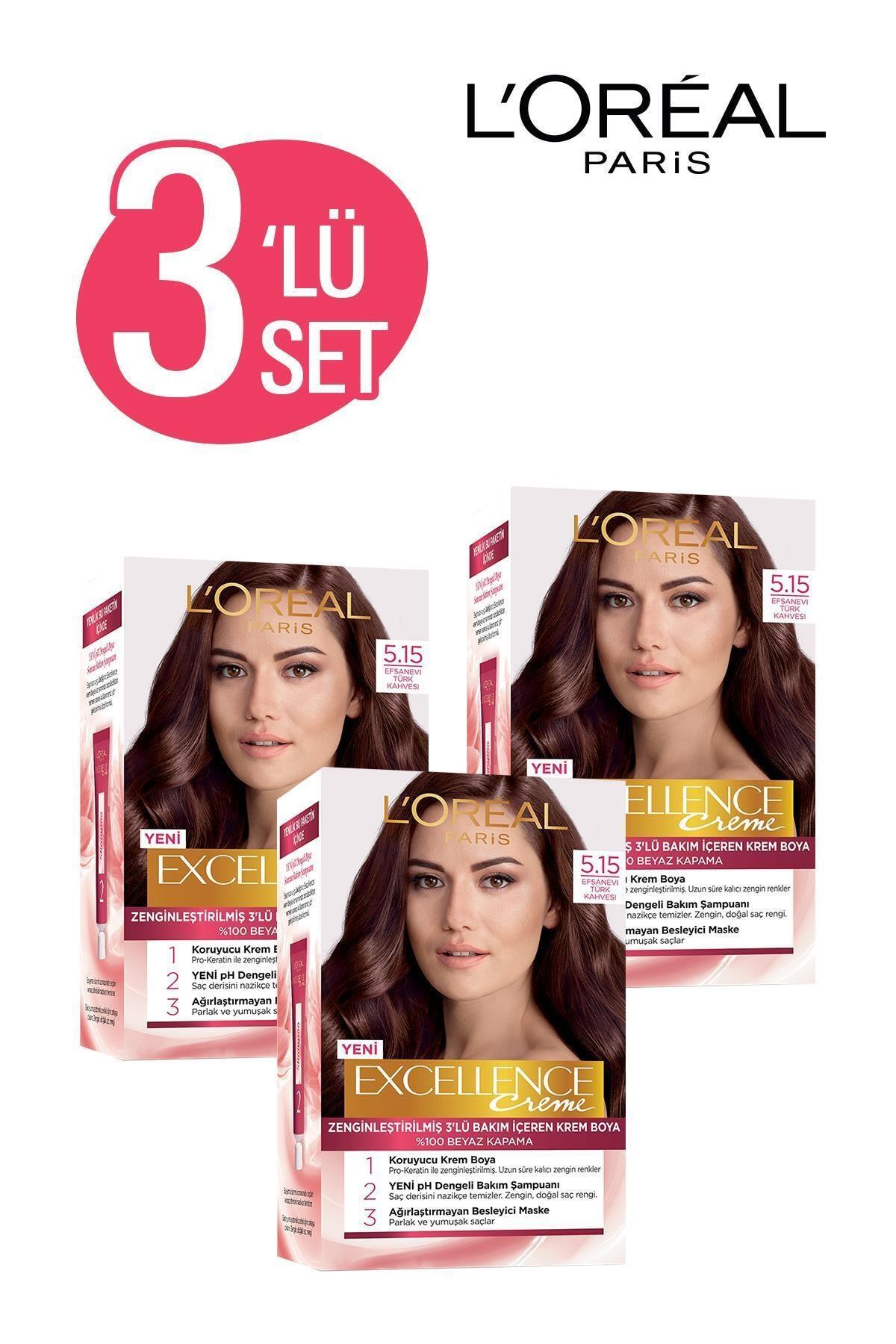 Excellence Creme Saç Boyası 5.15  Efsanevi Türk Kahvesi 3'lü Set