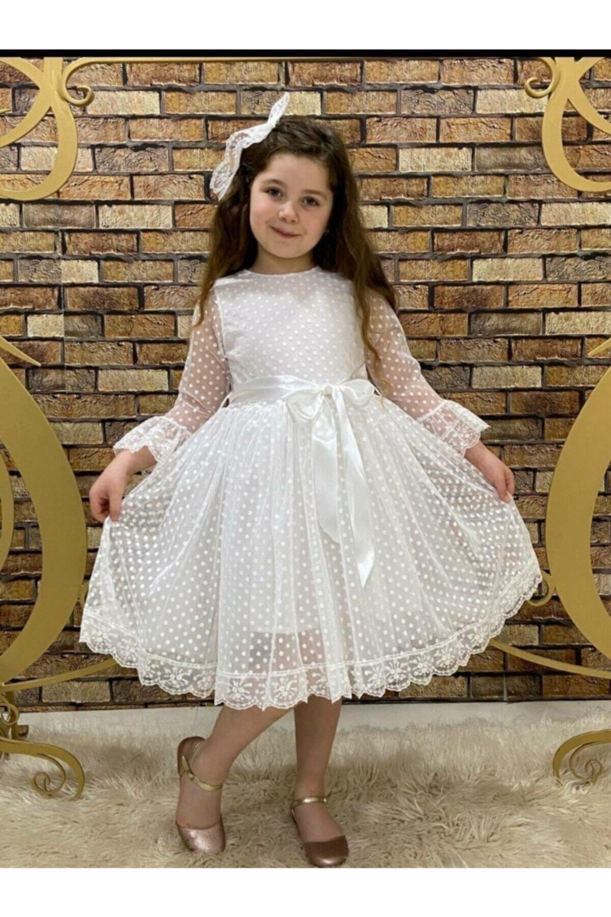 Dantelli Kız Çocuk Elbisesi Beyaz