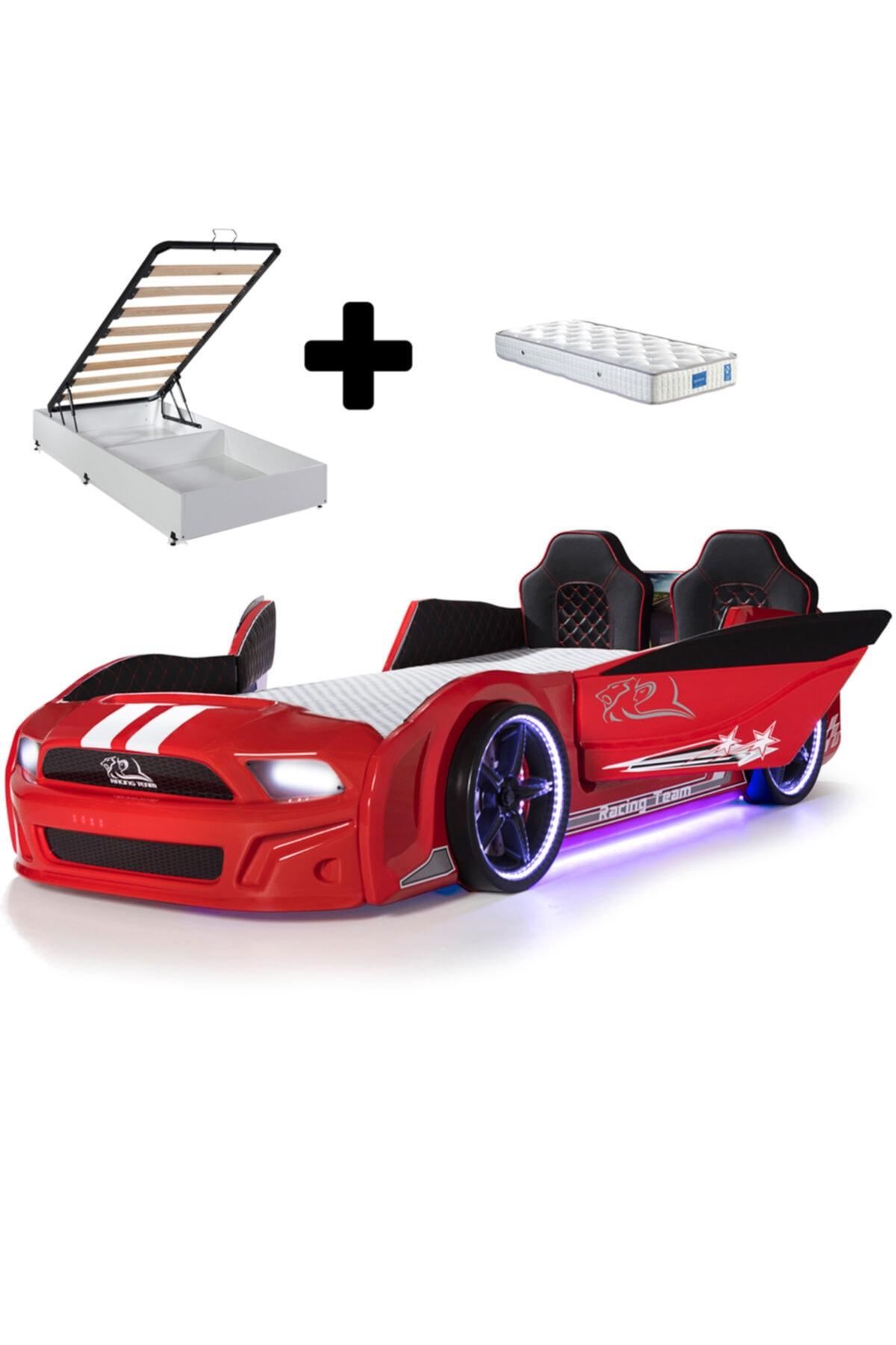Bazalı Arabalı Yatak, Mst Kırmızı Arabalı Yatak + Ortopedik Yatak
