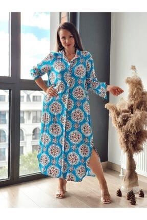 Trendbysena Çini Desen Gömlek Elbise AN10196 ÇİNİ DSN ELBİSE