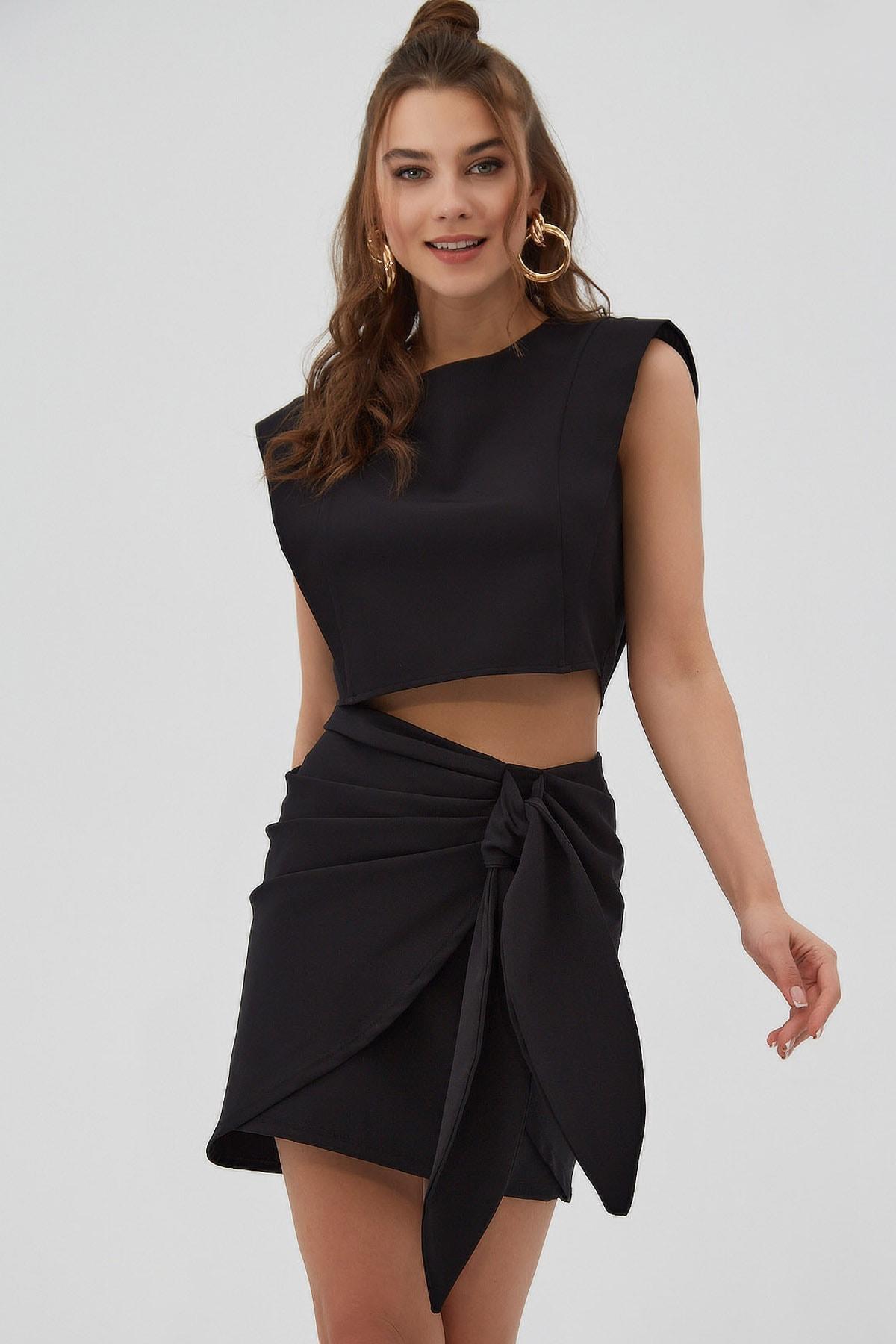 Kadın Vatkalı Dalgıç Kumaş Crop Bluz P21s201-2161