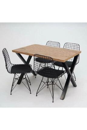 Cosargroup Masa Sandalye Takımı X Ayak Woody Çam 120x80 Cm Yemek Masa Takımı 3