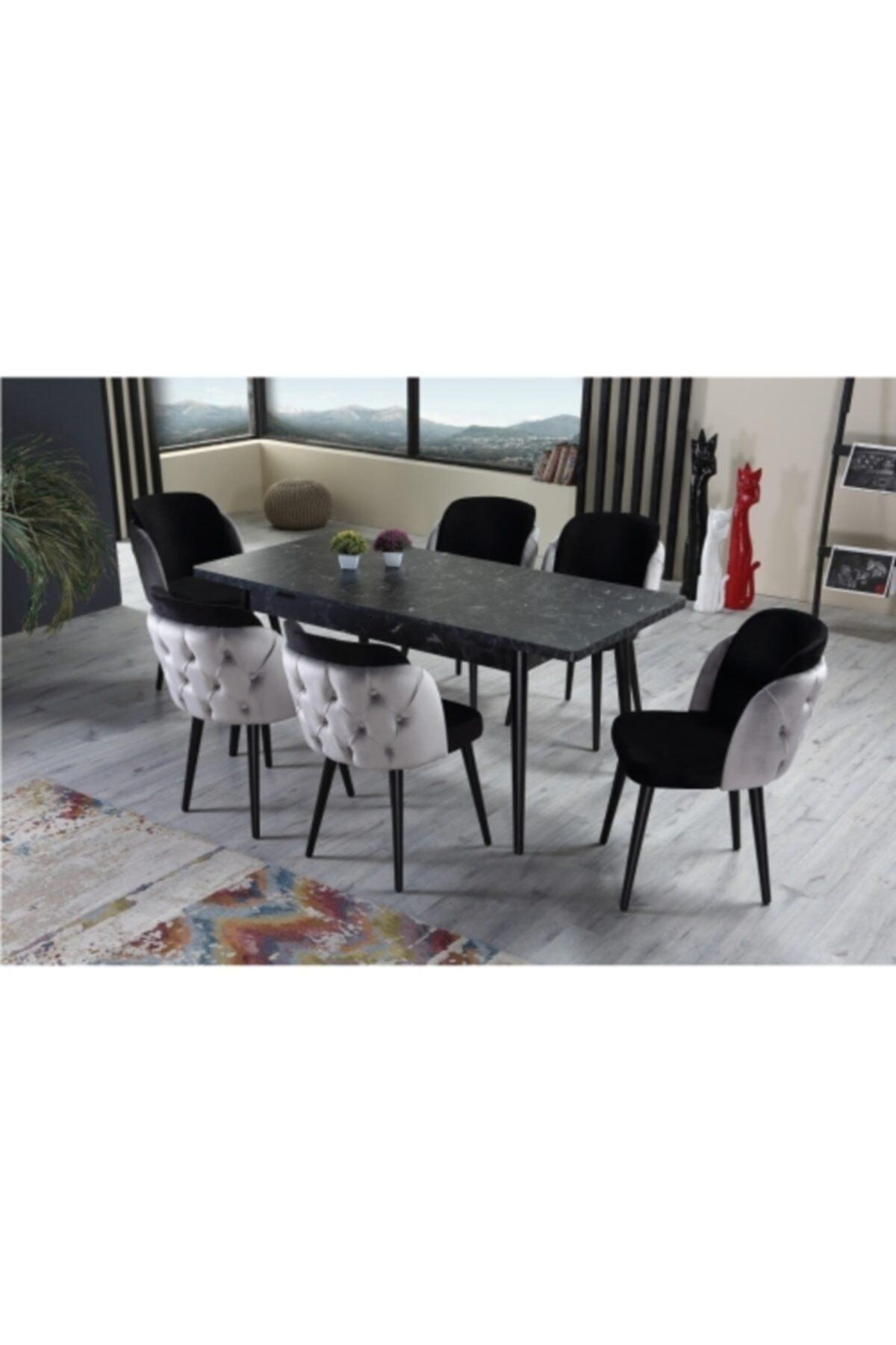 Siyah Yemek Masa Sandalye Takımı 6 Sandalyeli Safir