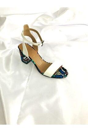 Kalan Shoes Renkli Ekose Tek Bant Kadın Topuklu Ayakkabı 1