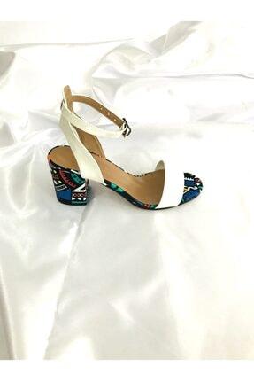 Kalan Shoes Renkli Ekose Tek Bant Kadın Topuklu Ayakkabı 2