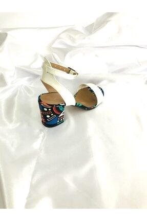 Kalan Shoes Renkli Ekose Tek Bant Kadın Topuklu Ayakkabı 3
